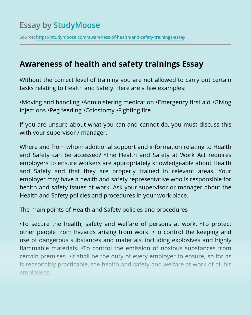 Awareness of health and safety trainings