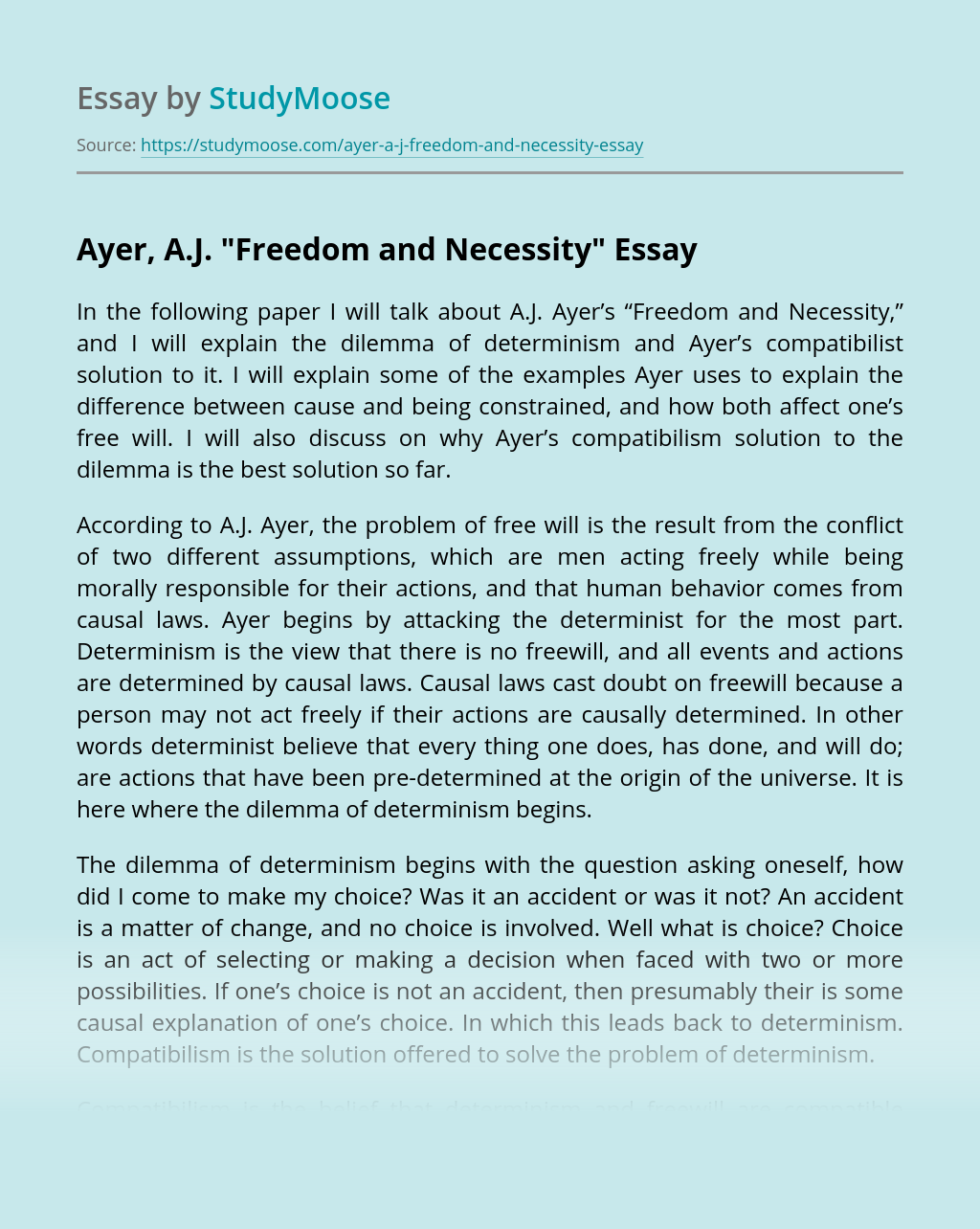 "Ayer, A.J. ""Freedom and Necessity"""