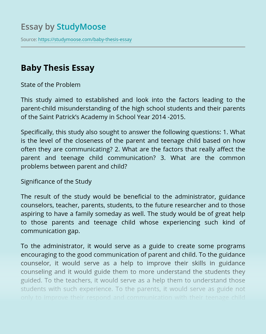 Baby Thesis Free Essay Example