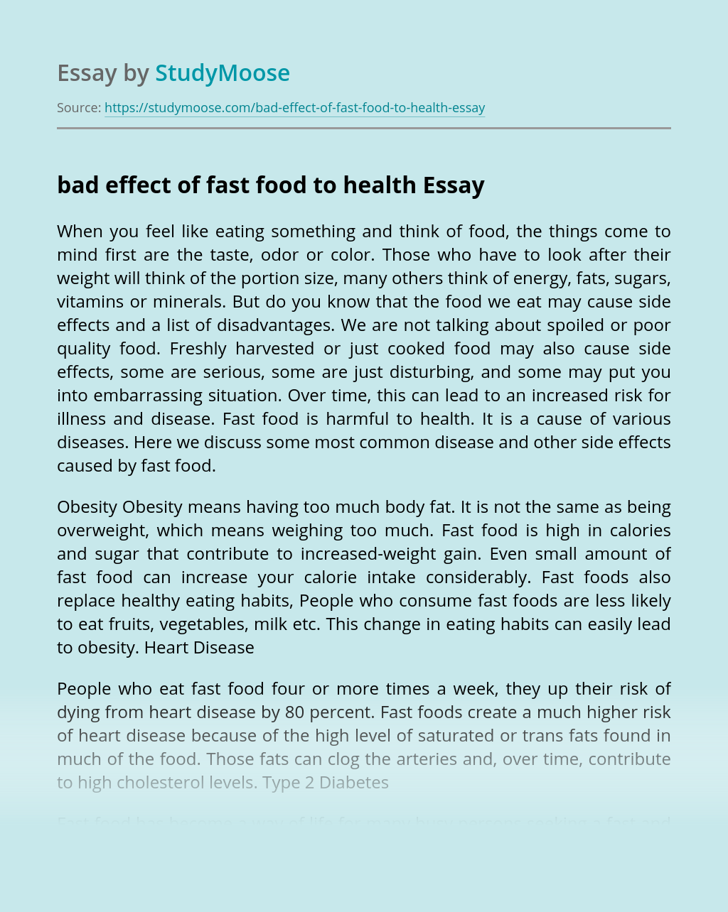 bad effect of fast food to health