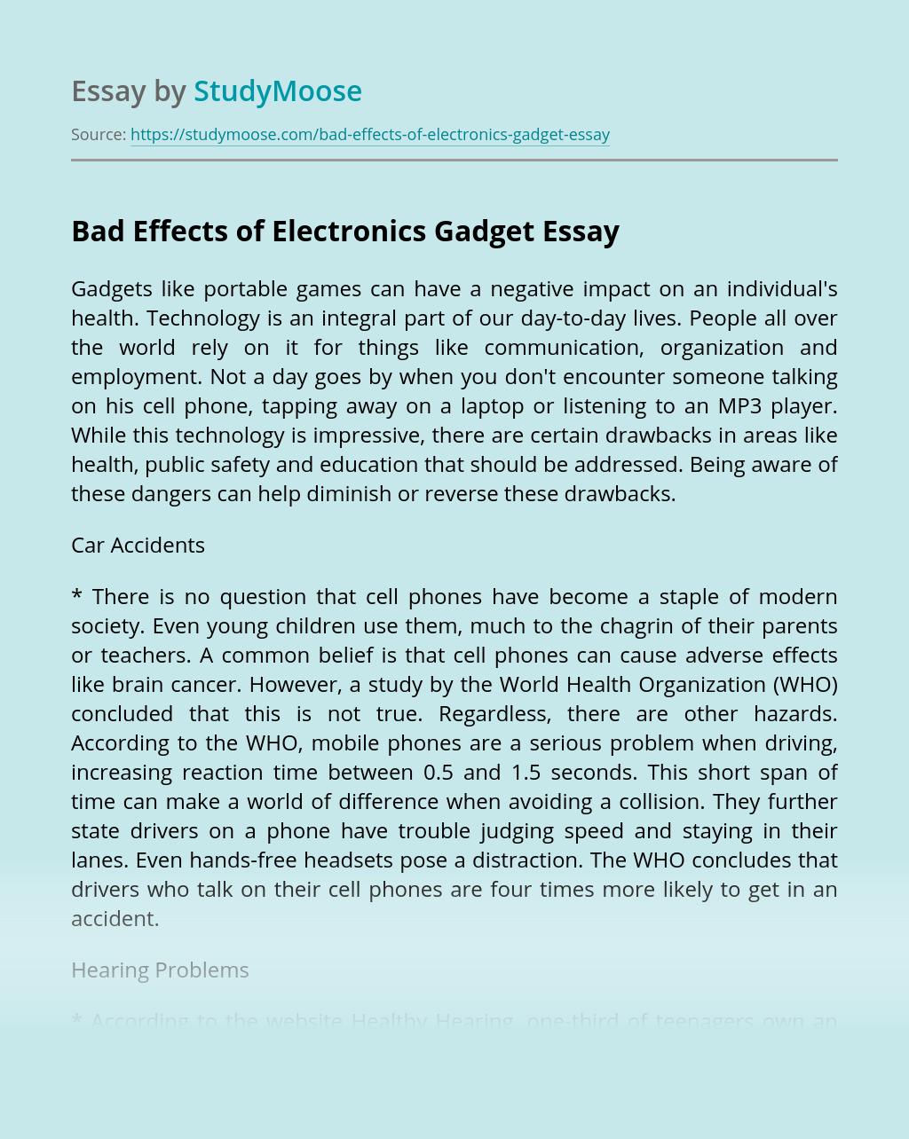 Bad Effects of Electronics Gadget