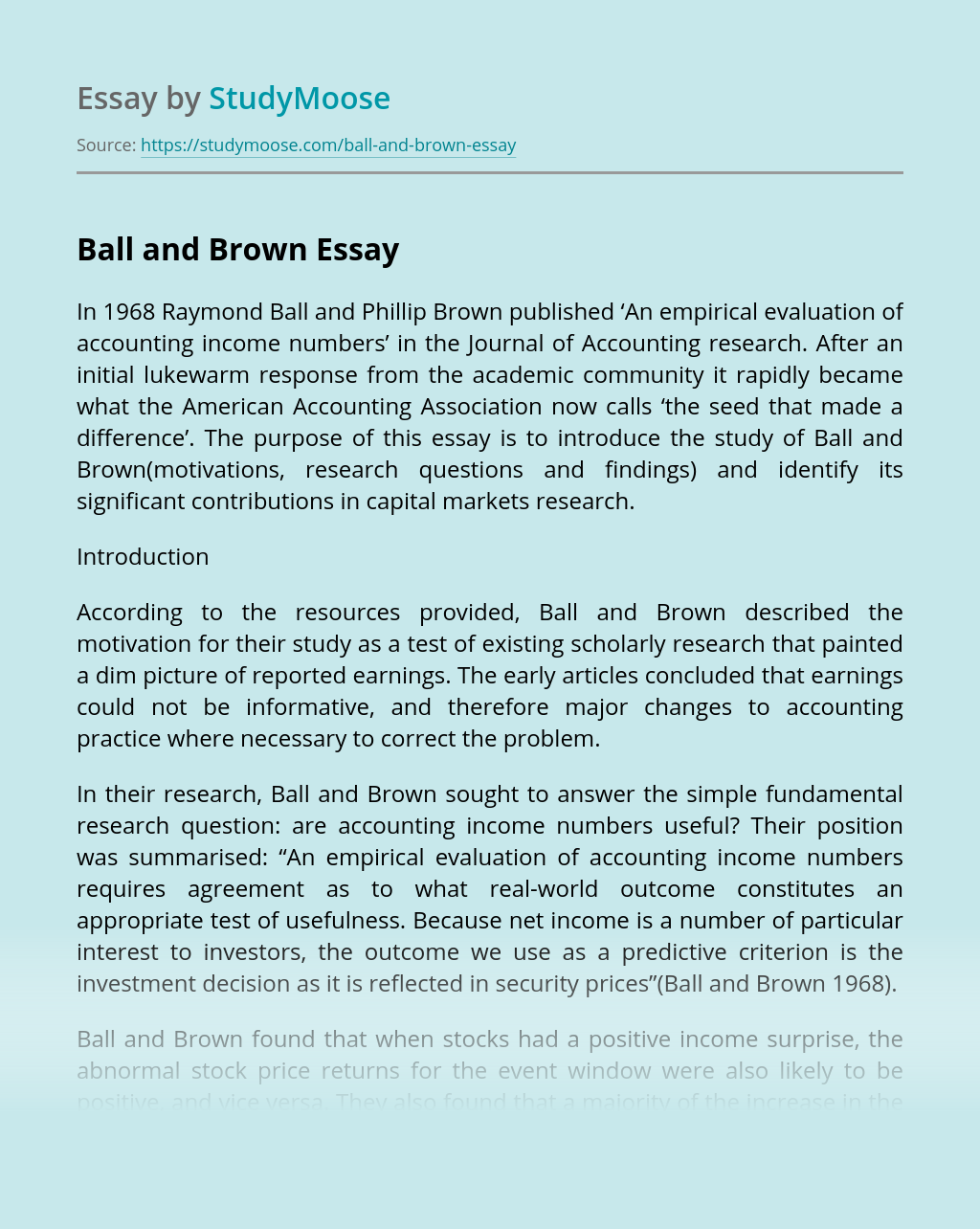 Ball and Brown