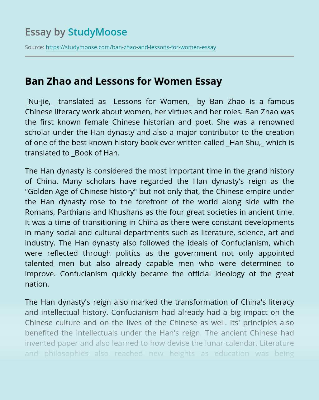 Ban Zhao and Lessons for Women