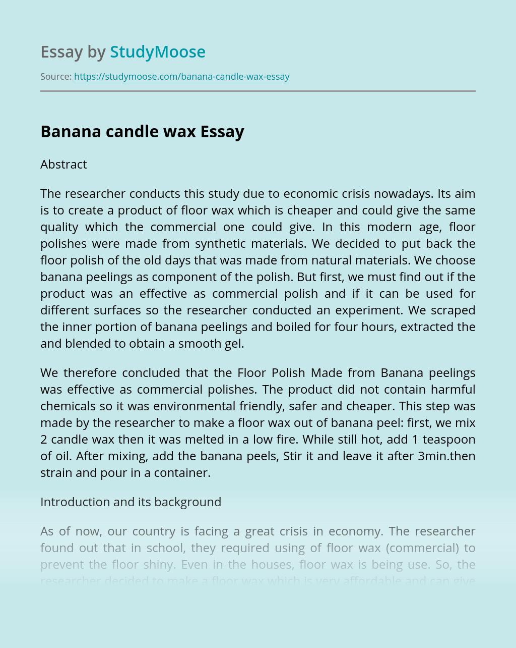 Banana candle wax
