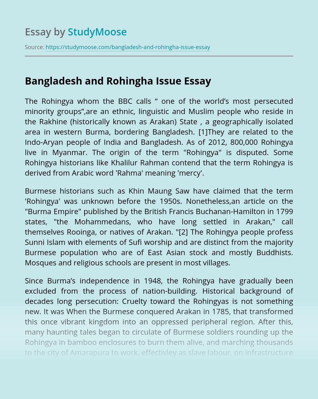 Bangladesh and Rohingha Issue