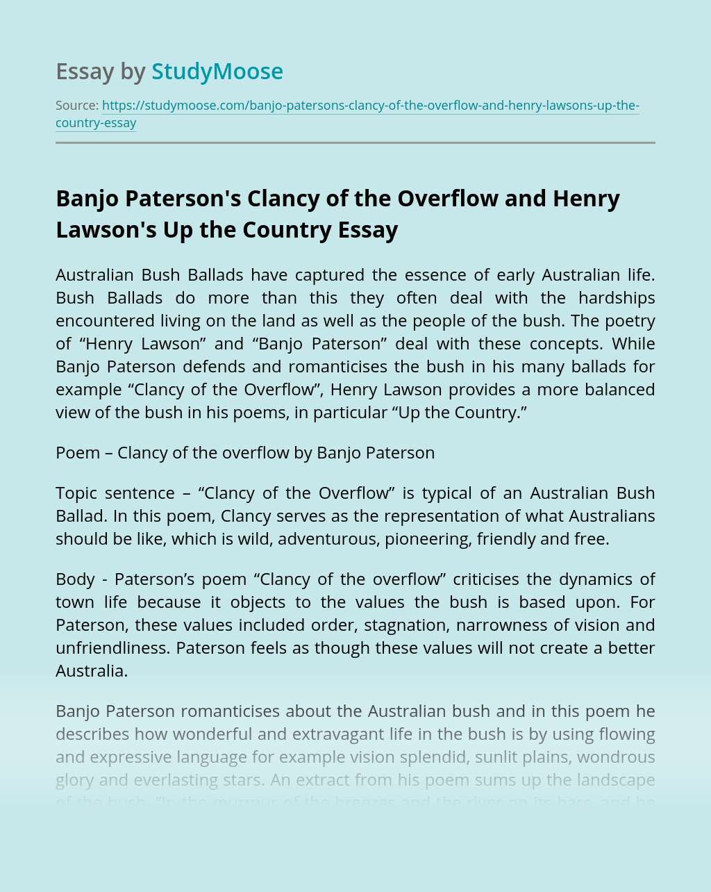 Banjo Paterson's Clancy of the Overflow and Henry Lawson's Up the Country