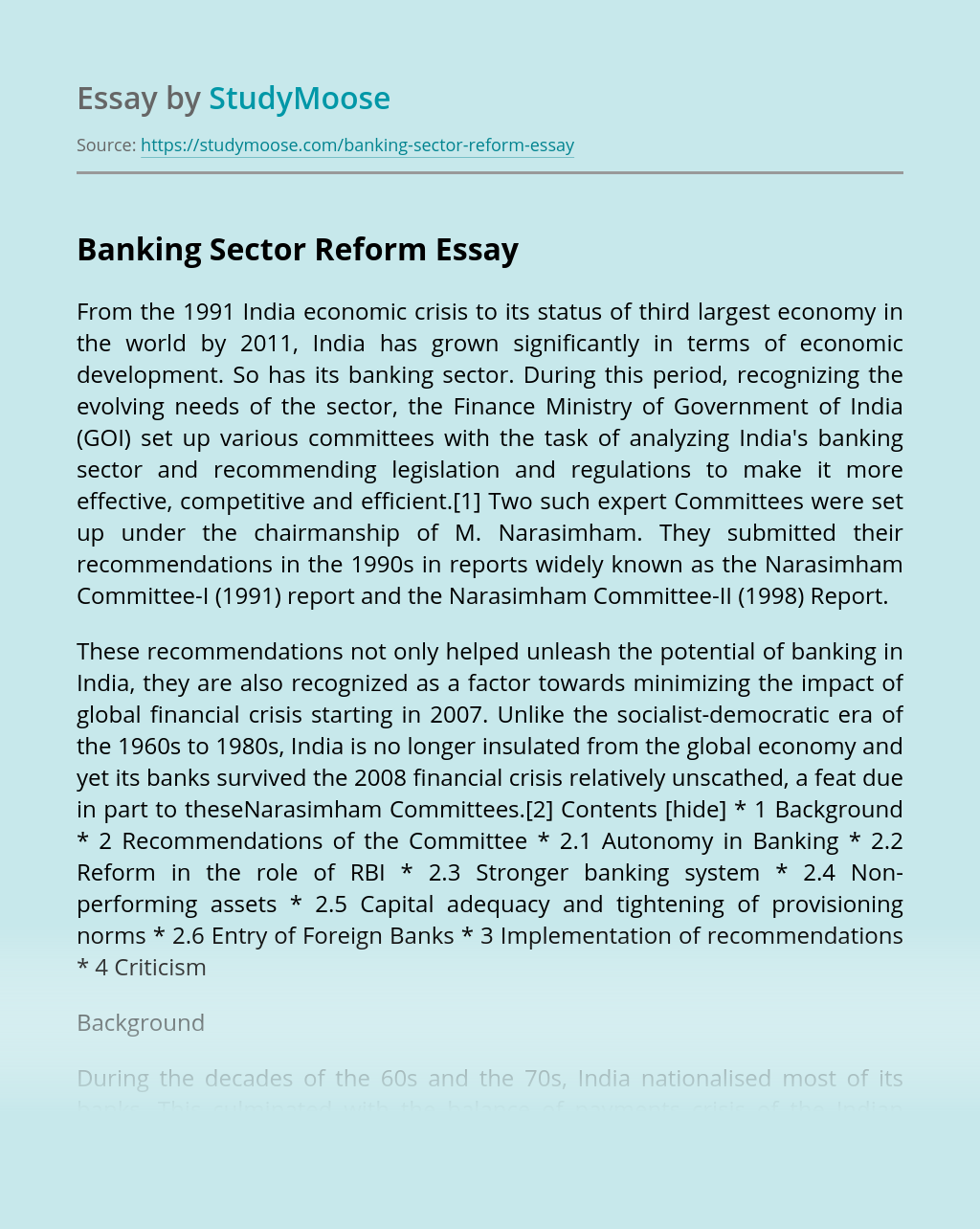 Banking Sector Reform