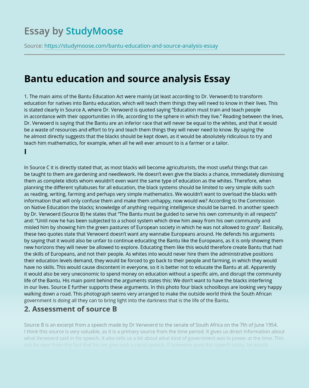 Bantu education and source analysis