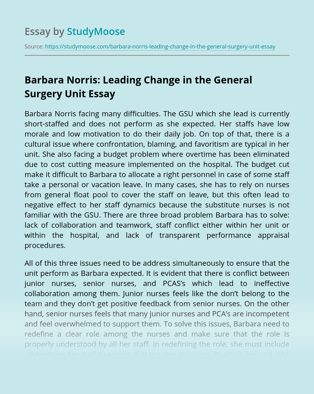 Barbara Norris: Leading Change in the General Surgery Unit