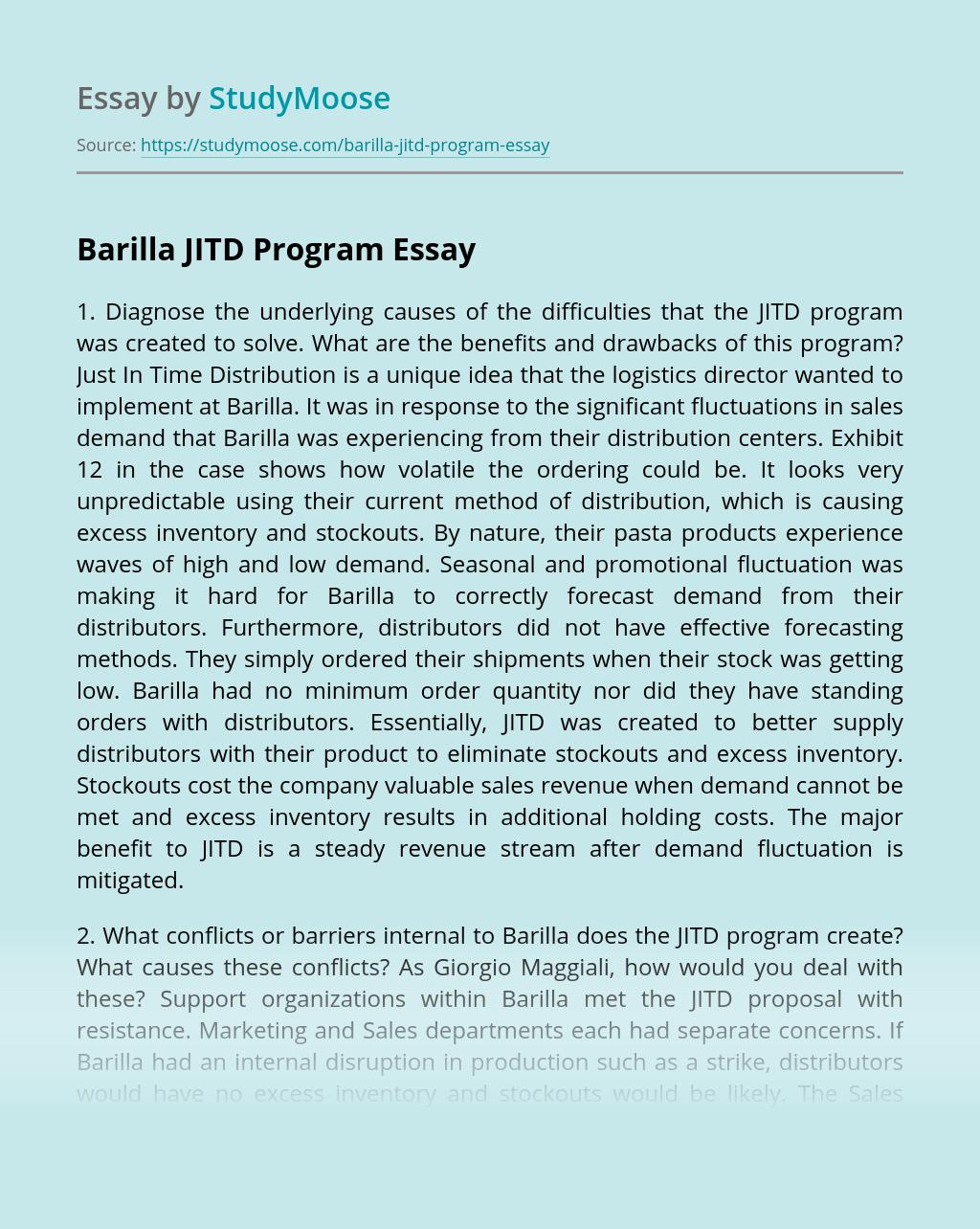 Barilla JITD Program