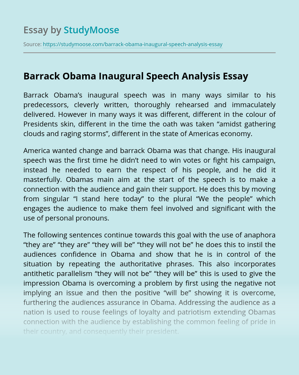 Barrack Obama Inaugural Speech Analysis