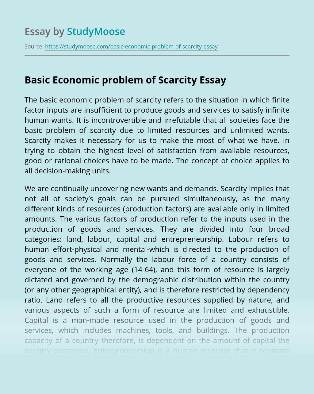 Basic Economic problem of Scarcity
