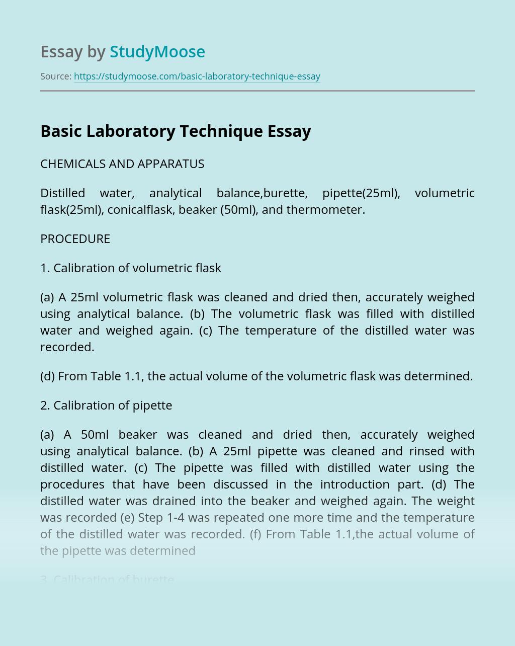 Basic Laboratory Technique