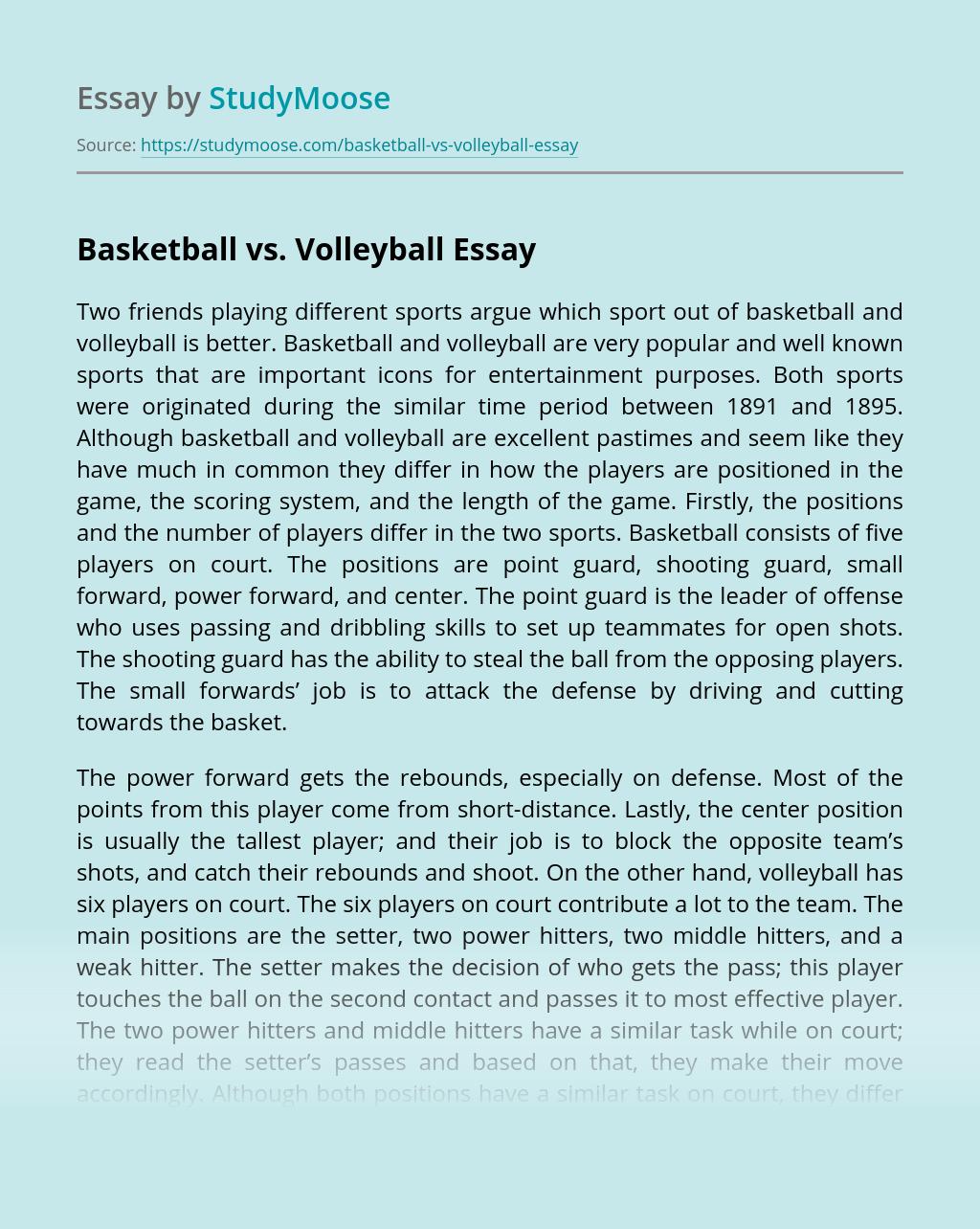 Basketball vs. Volleyball
