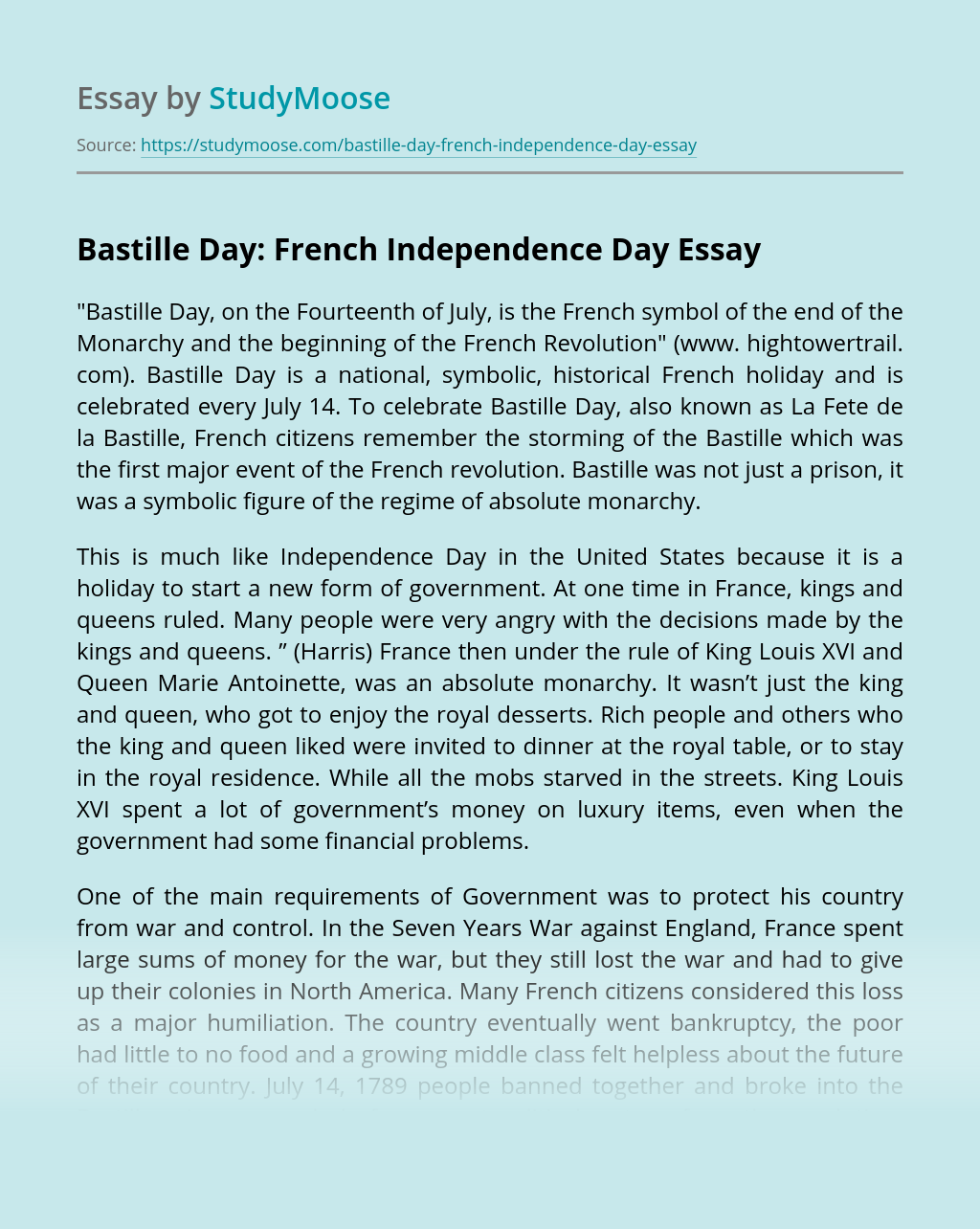 Bastille Day: French Independence Day