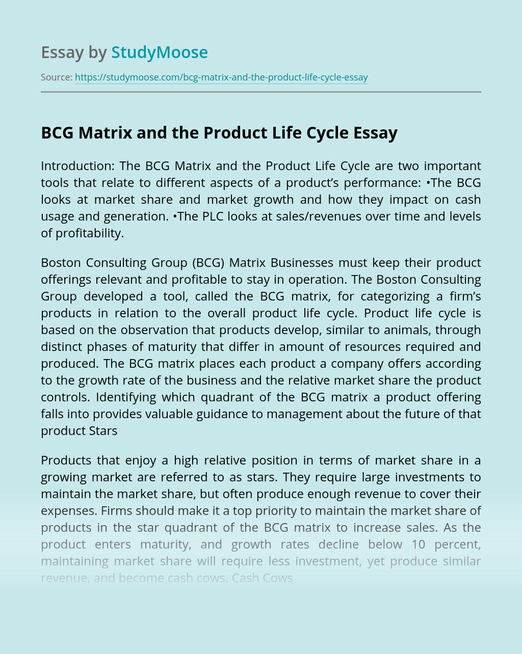 BCG Matrix and the Product Life Cycle
