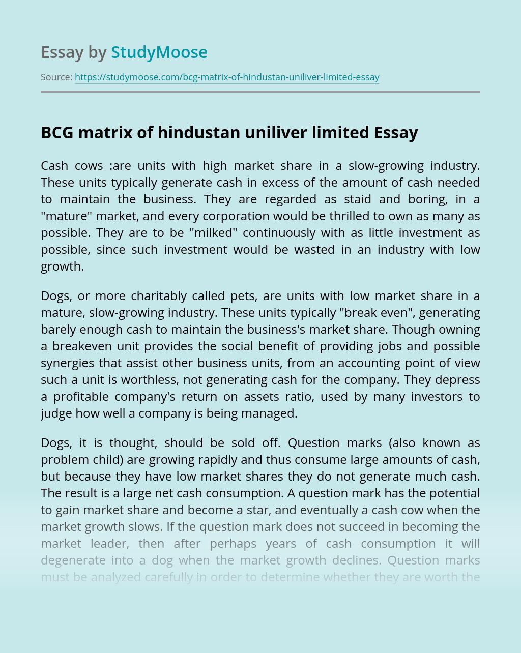 BCG matrix of hindustan uniliver limited