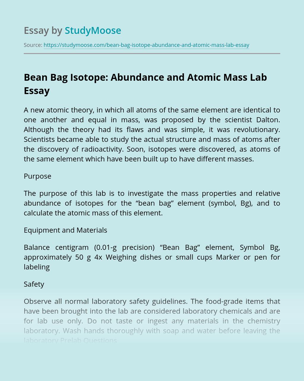 Bean Bag Isotope: Abundance and Atomic Mass Lab