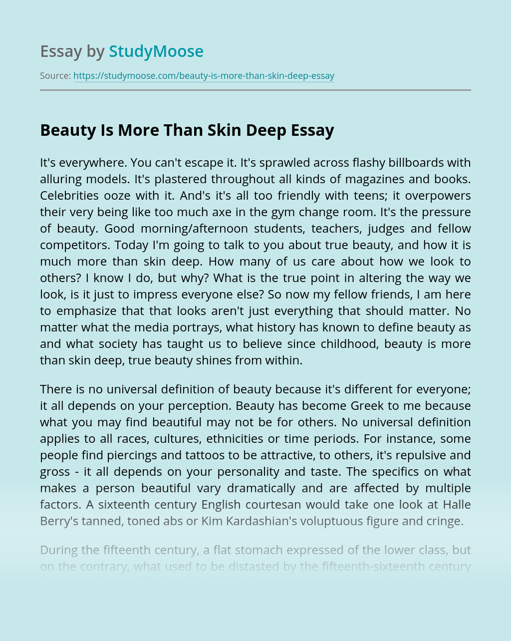 Beauty Is More Than Skin Deep