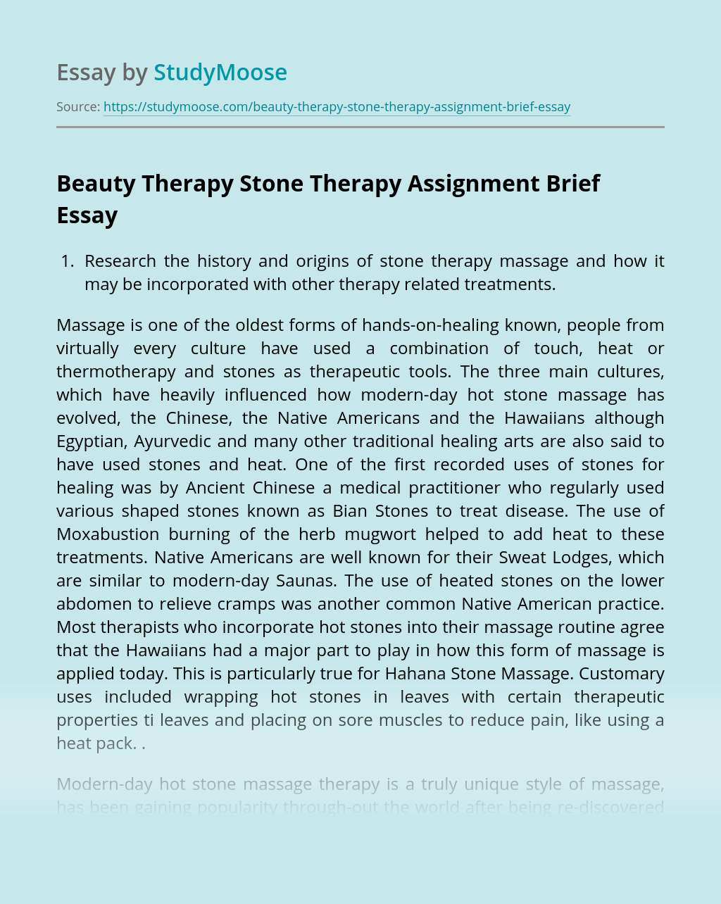 Beauty Therapy Stone Therapy Assignment Brief