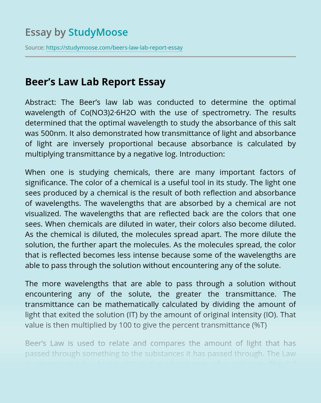 Beer's Law Lab Report