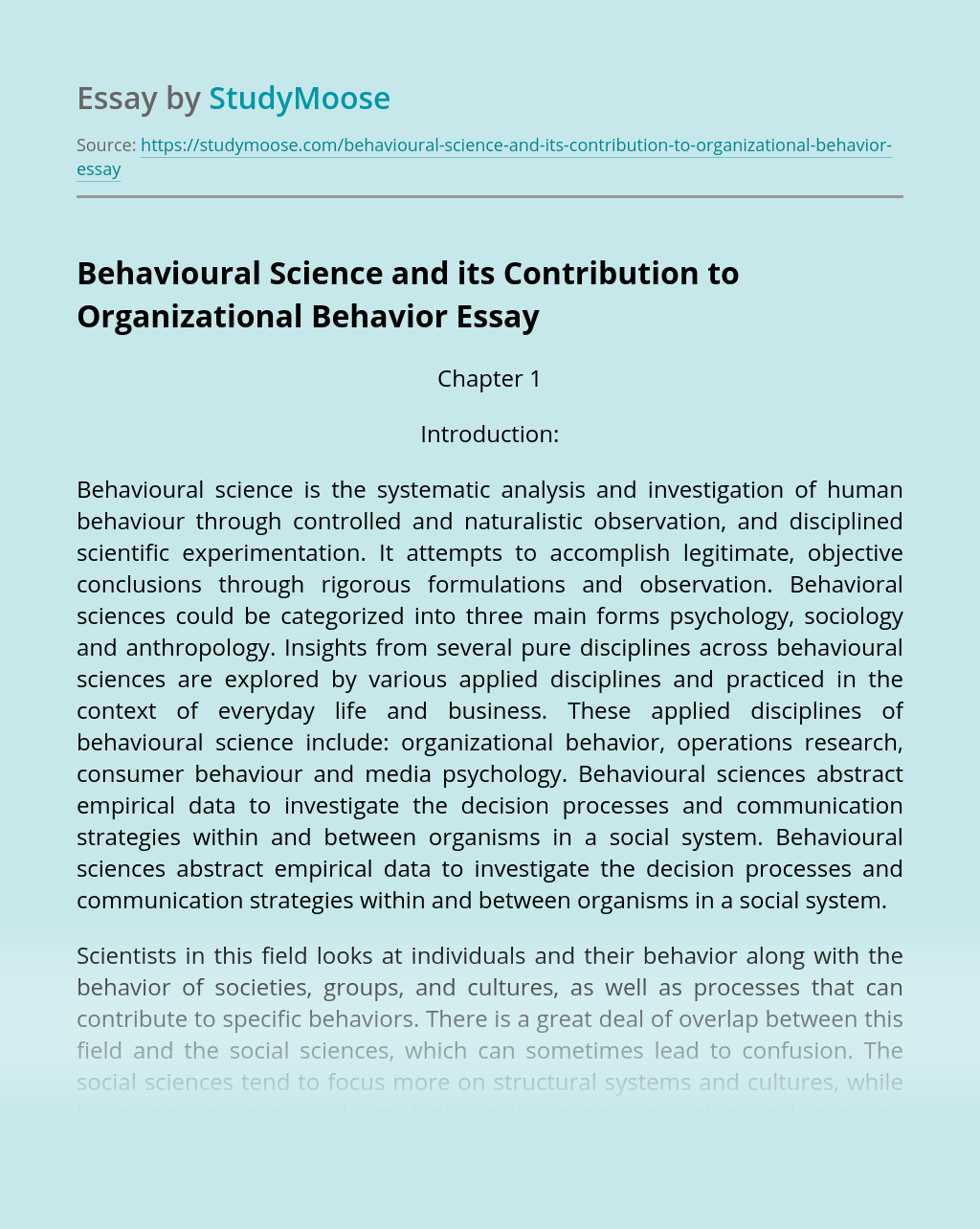 Behavioural Science and its Contribution to Organizational Behavior
