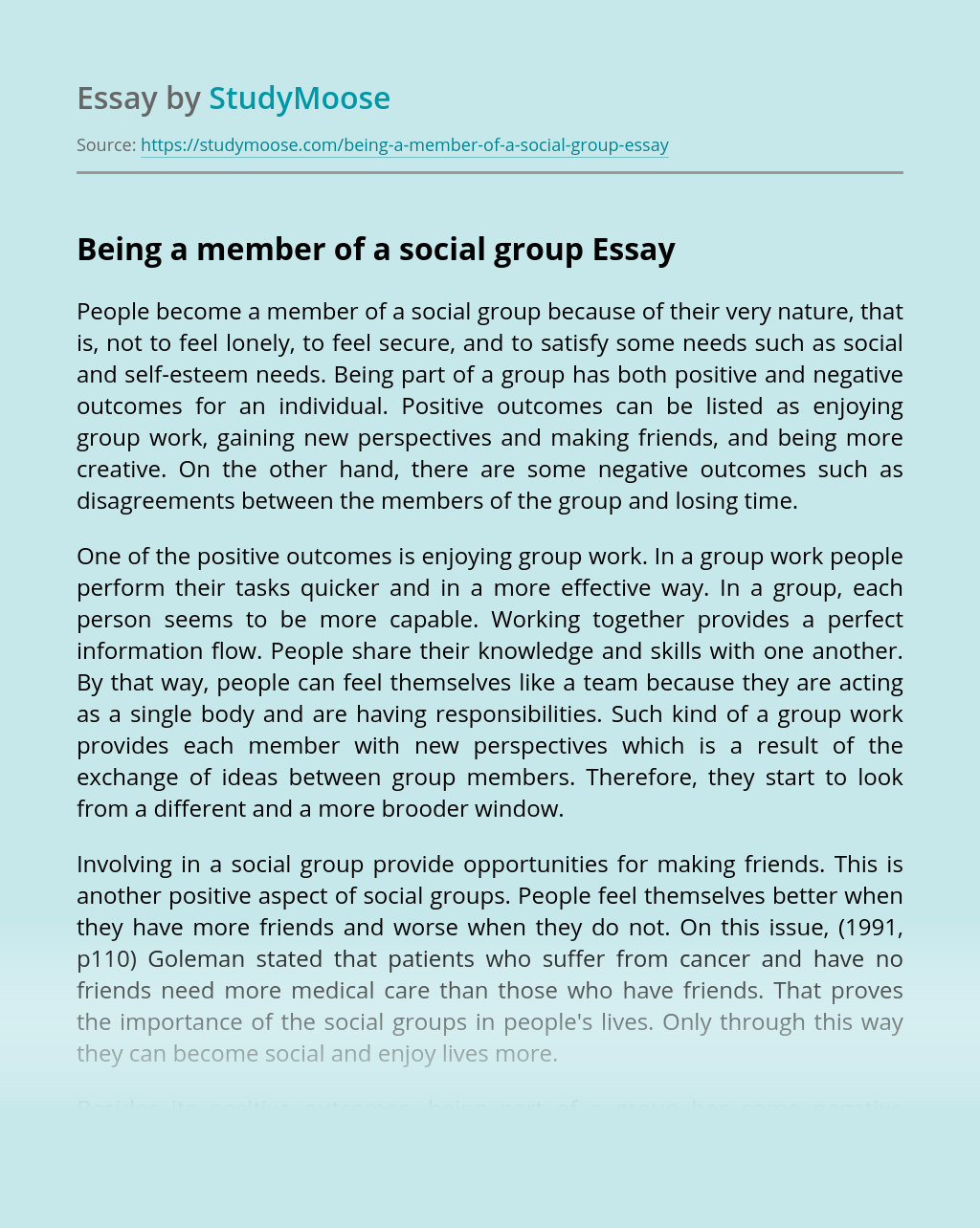 Being a member of a social group