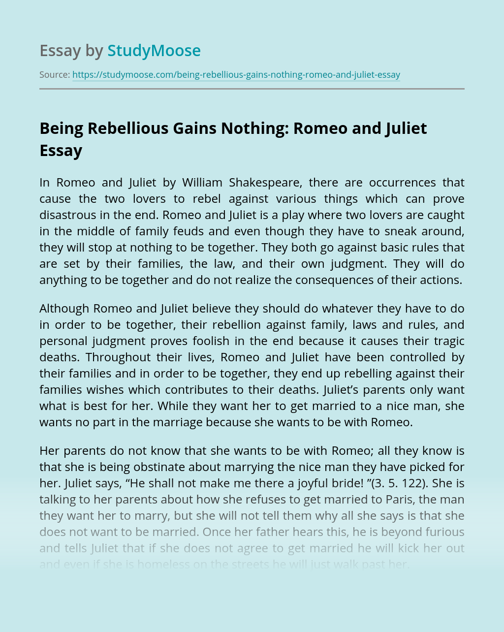 Being Rebellious Gains Nothing: Romeo and Juliet