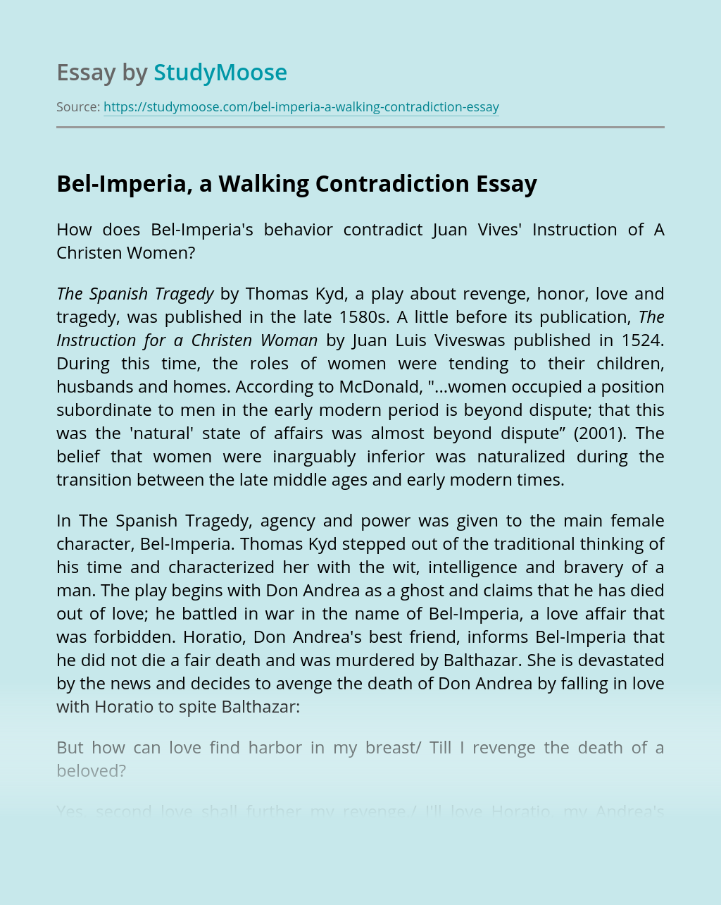 Bel-Imperia, a Walking Contradiction