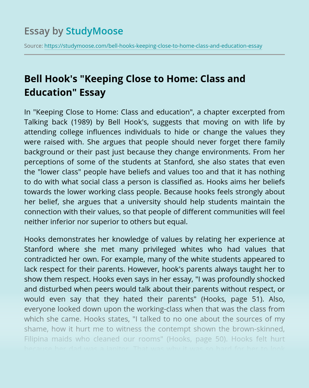 "Bell Hook's ""Keeping Close to Home: Class and Education"""