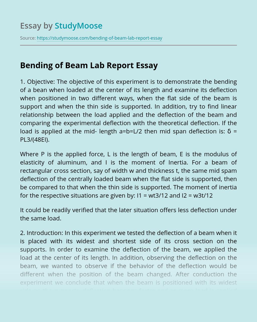 Bending of Beam Lab Report
