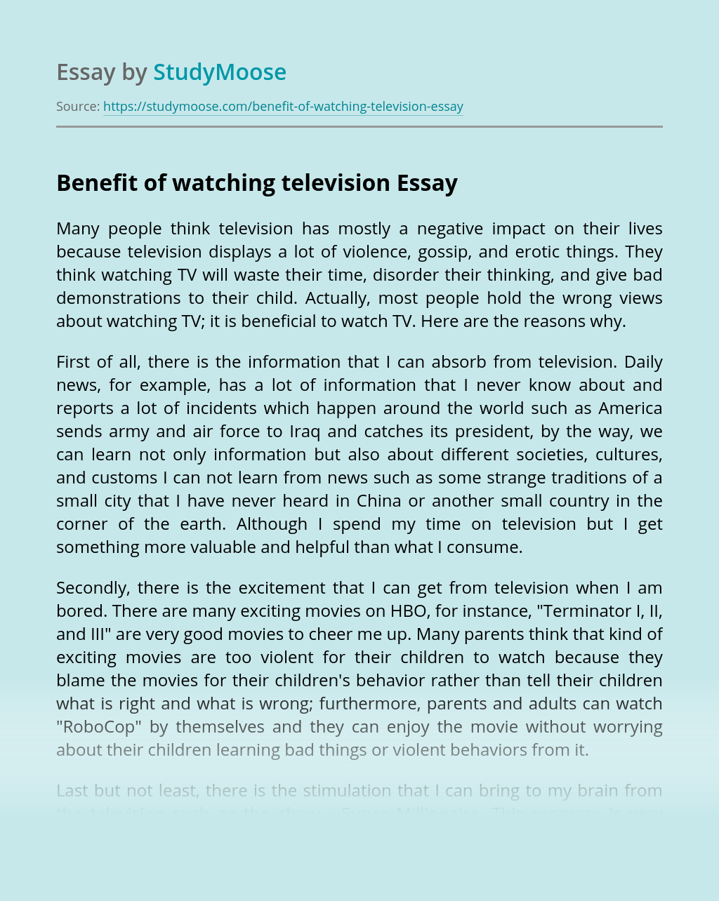 Benefit of watching television