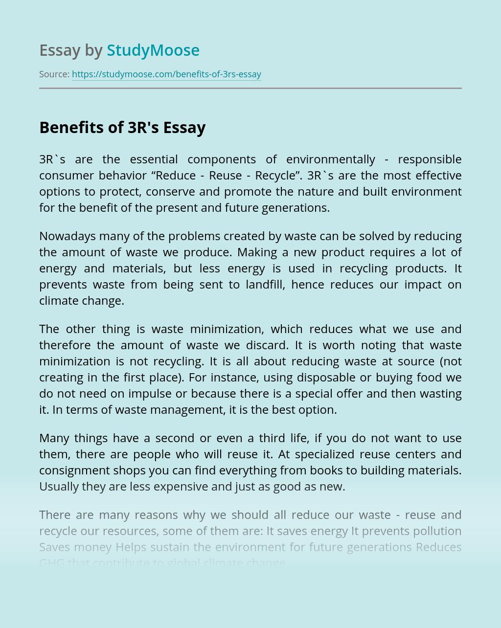 Benefits of 3R's