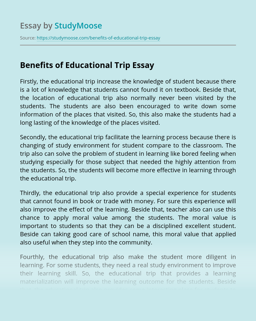 Benefits of Educational Trip