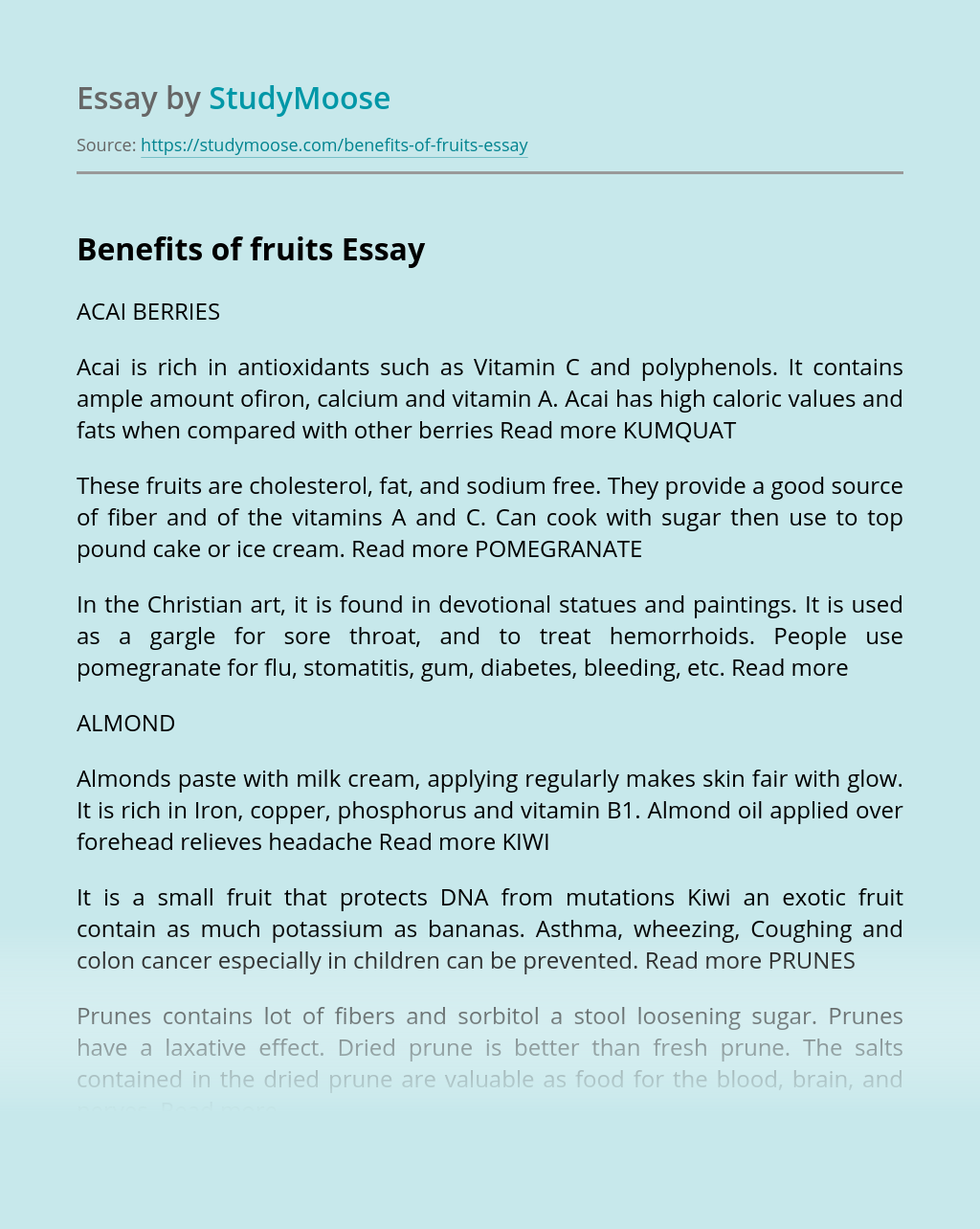 benefits of fruits free essay example