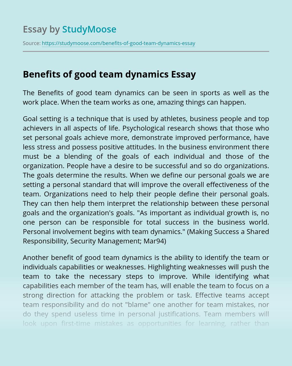 Benefits of good team dynamics