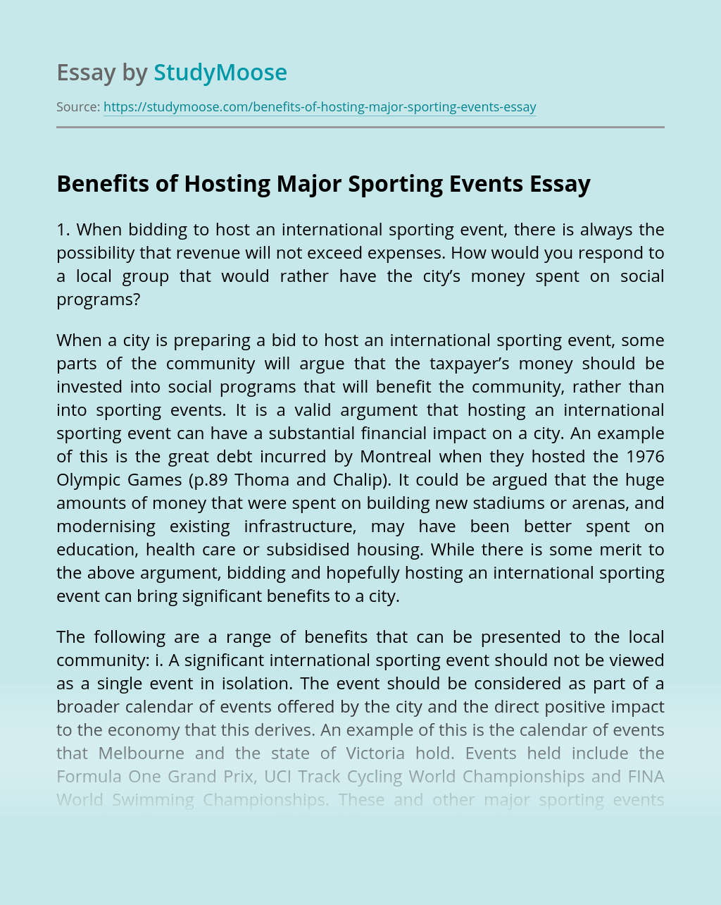Benefits of Hosting Major Sporting Events