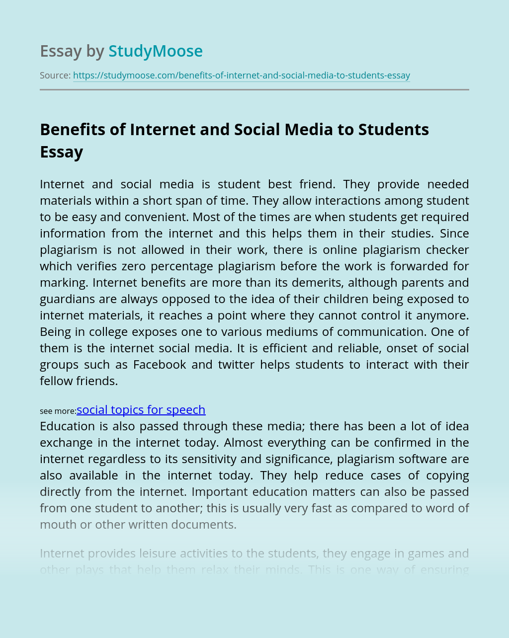 Benefits of Internet and Social Media to Students