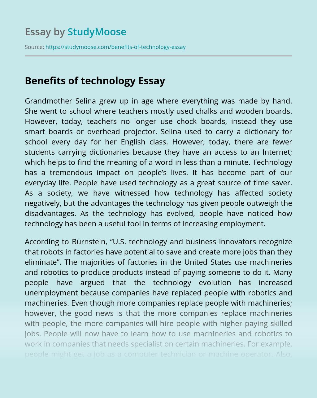 Benefits of technology