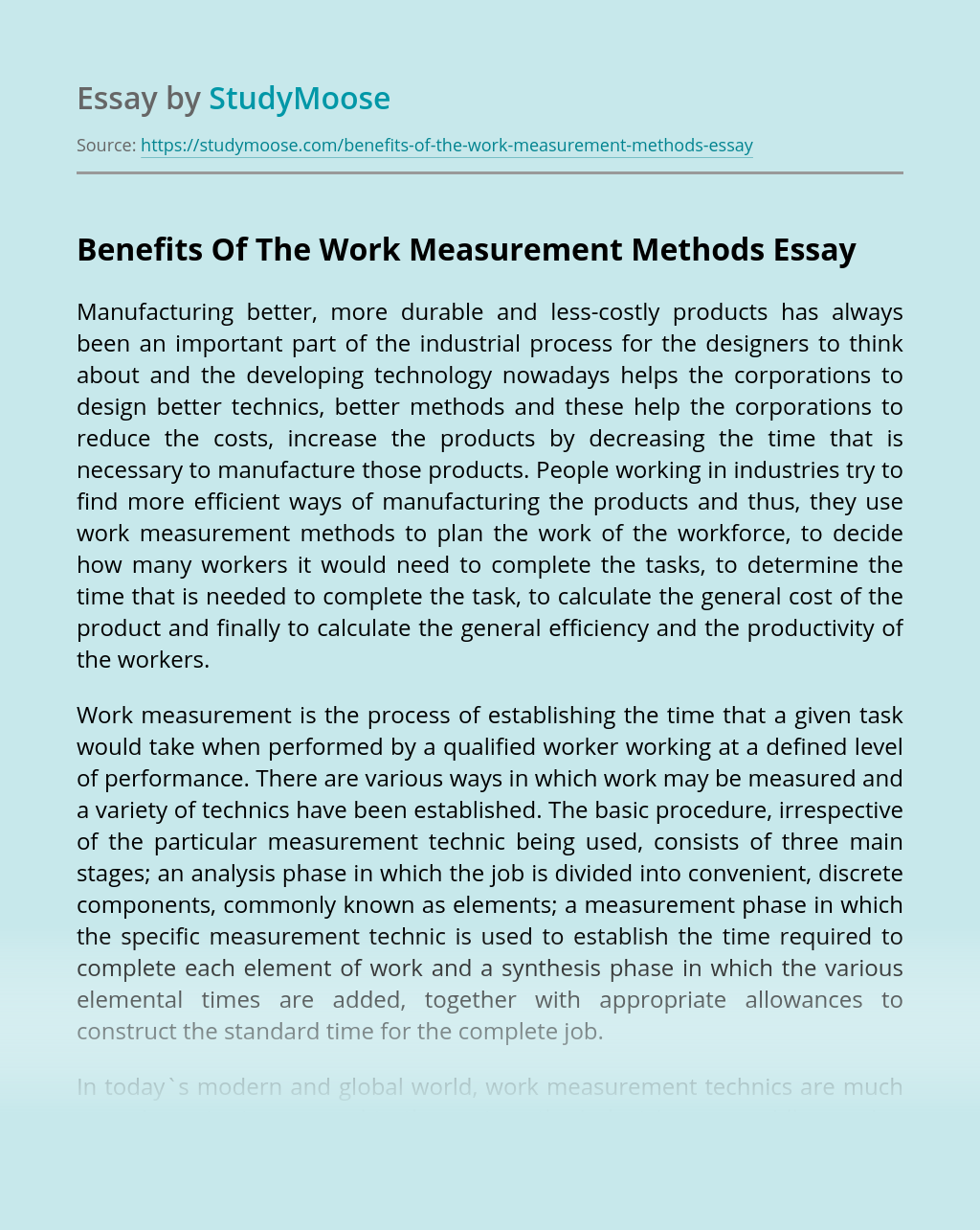 Benefits Of The Work Measurement Methods