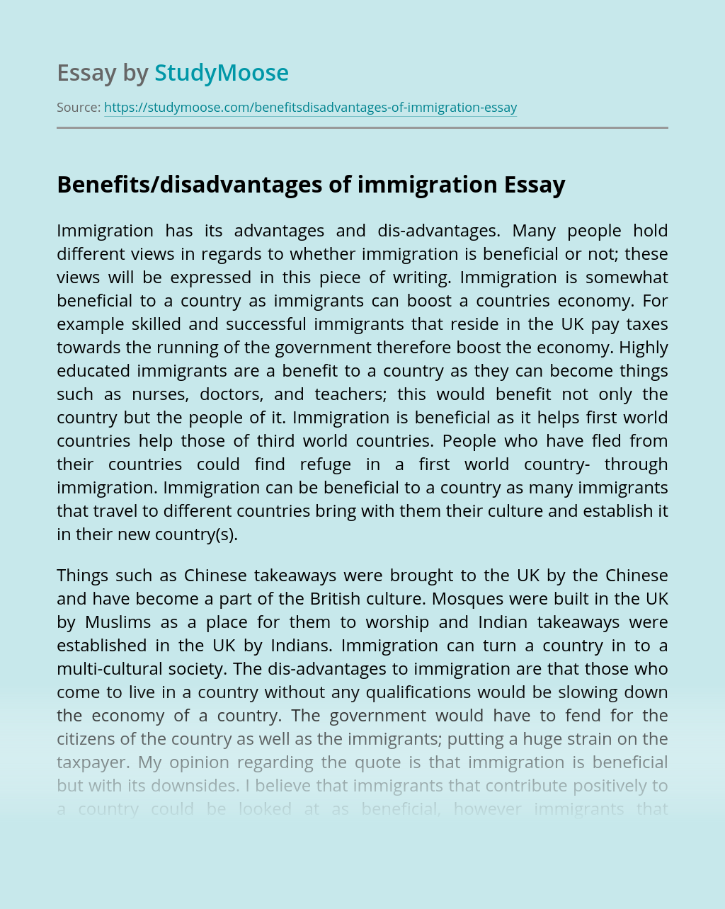 Benefits/disadvantages of immigration