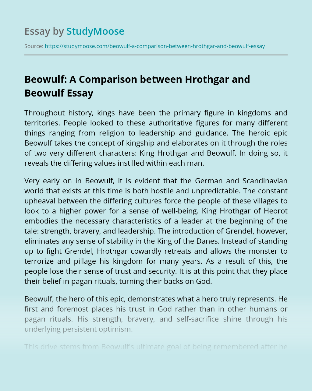 Beowulf: A Comparison between Hrothgar and Beowulf