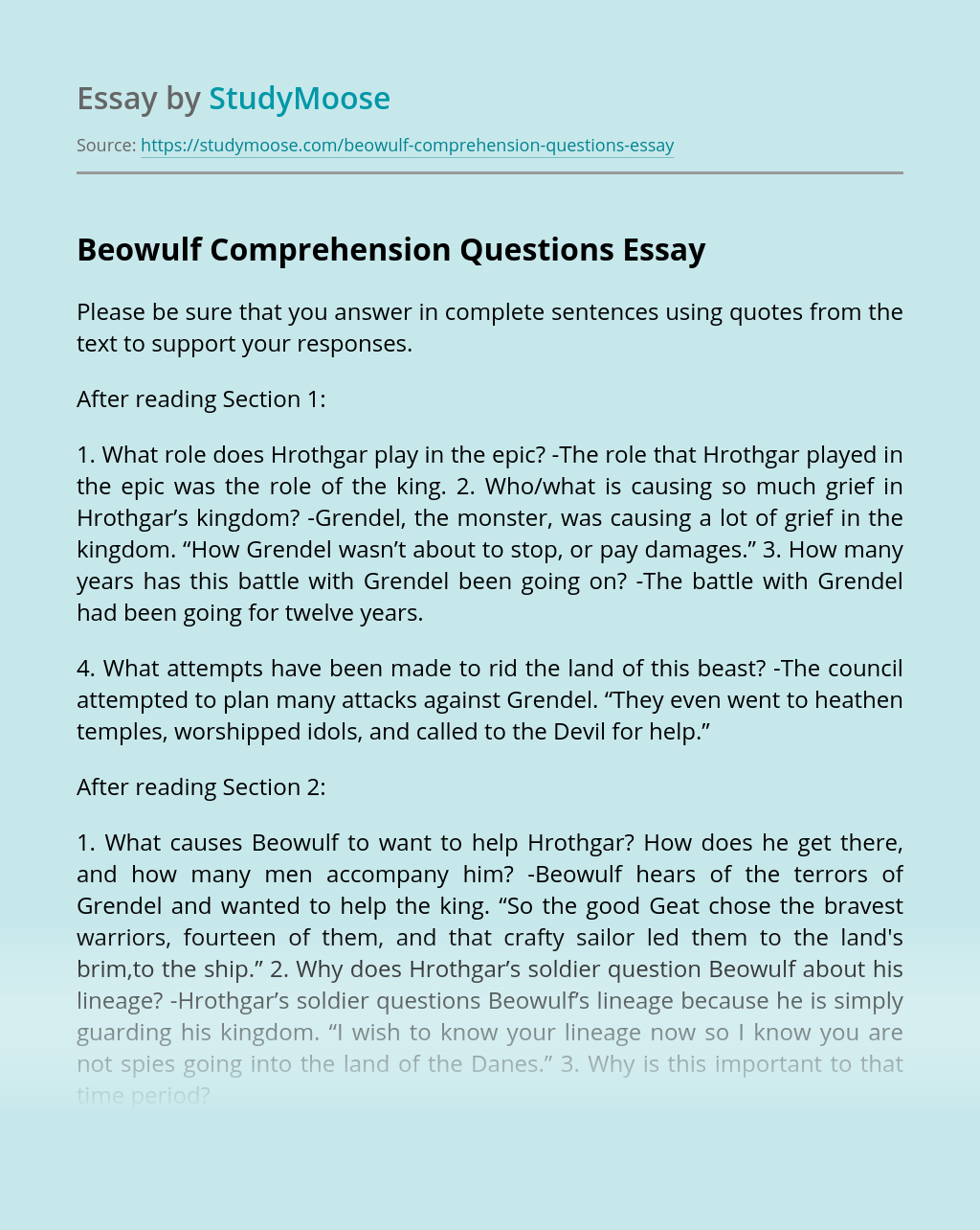 Beowulf Comprehension Questions