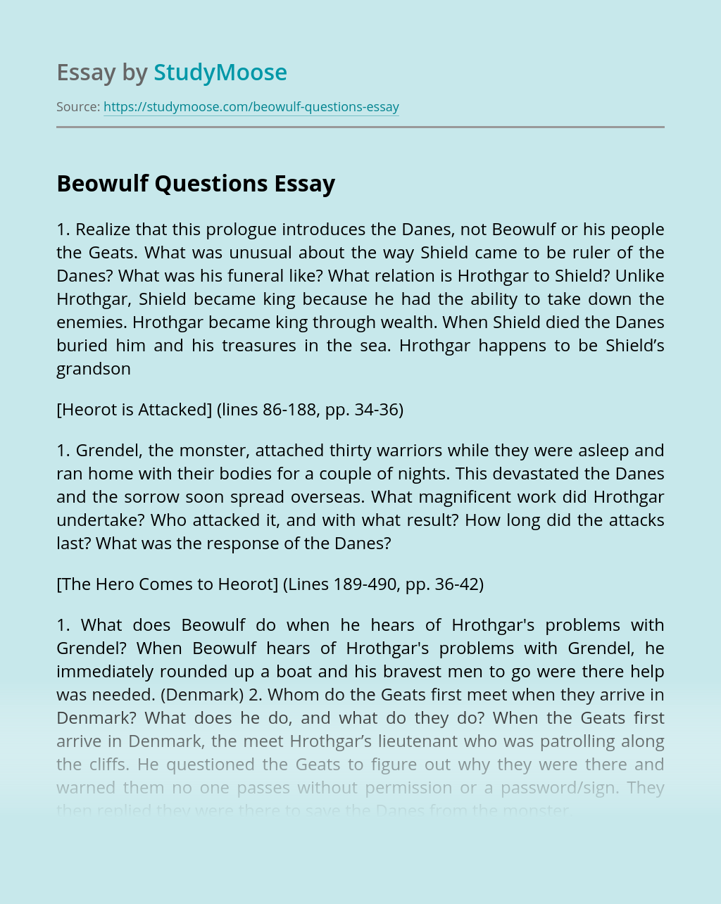 Beowulf Questions
