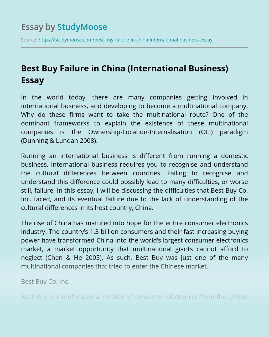 Best Buy Failure in China (International Business)