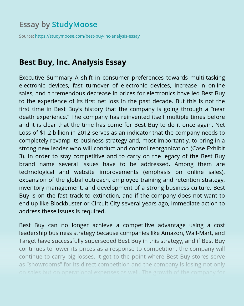 Best Buy, Inc. Analysis