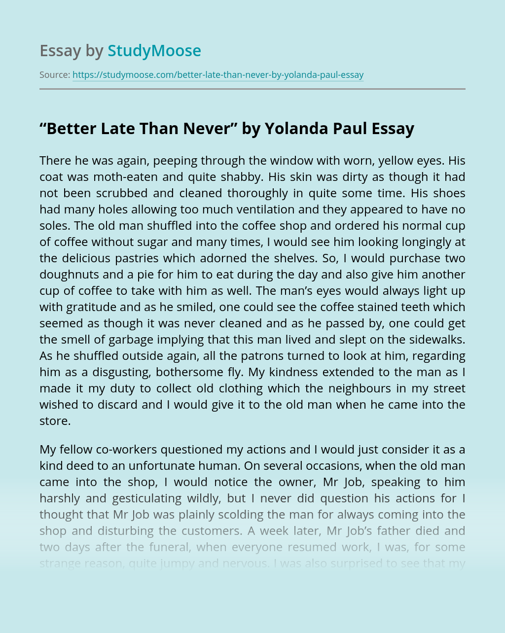 "?""Better Late Than Never"" by Yolanda Paul"