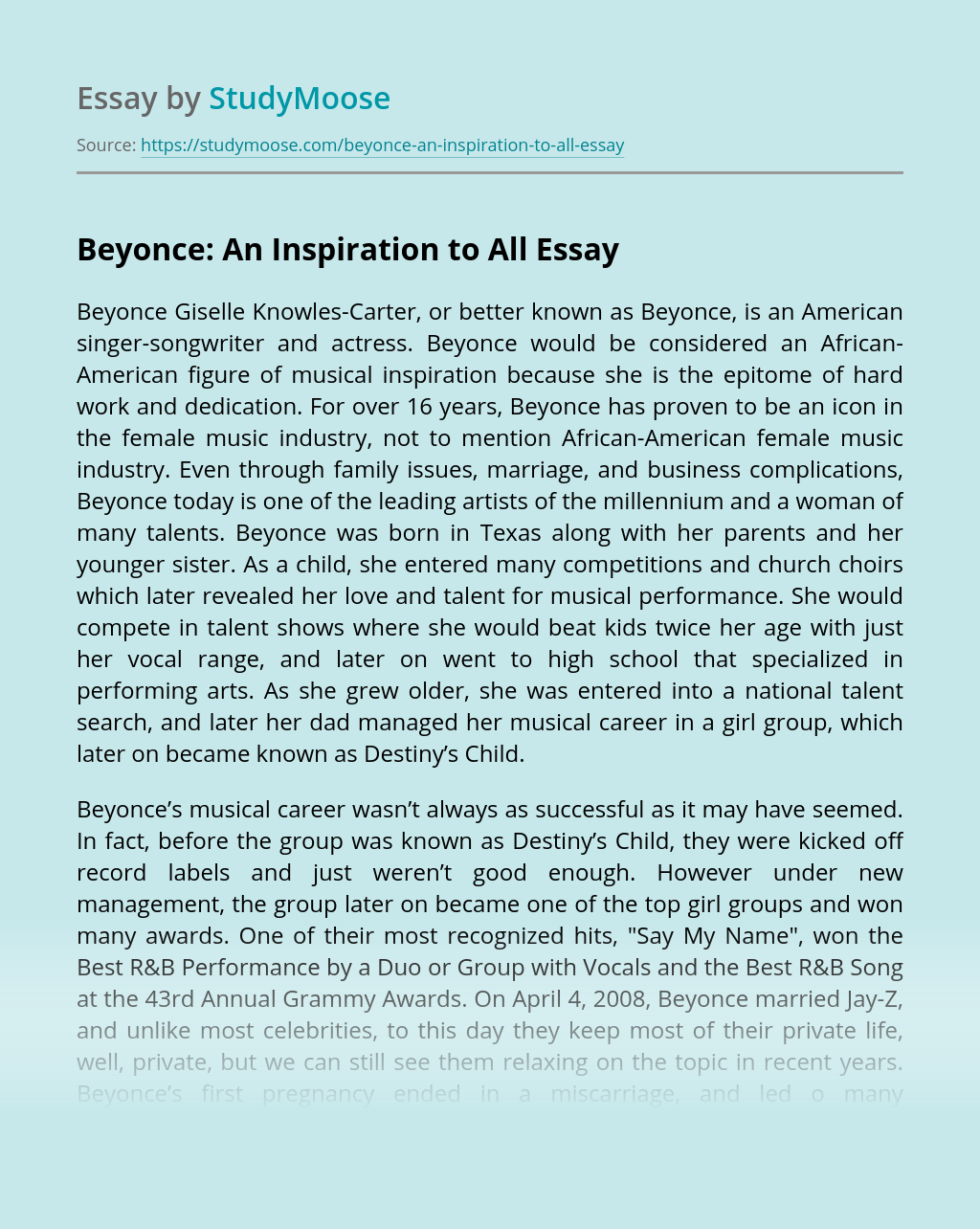 ?Beyonce: An Inspiration to All