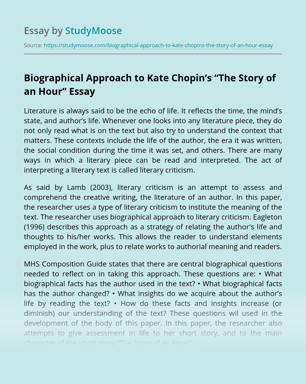"Biographical Approach to Kate Chopin's ""The Story of an Hour"" Free ..."