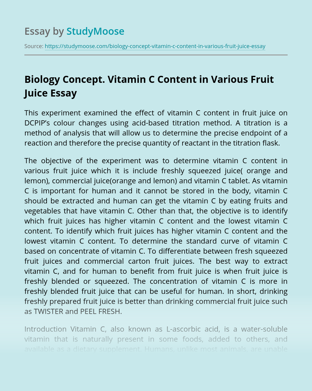 biology concept. vitamin c content in various fruit juice